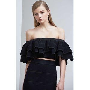 🆕 KEEPSAKE Off the Shoulder Ruffle Crop Top